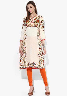 Cream Printed Kurta Accentuate your femininity wearing this off-white coloured kurta from the house of BIBA. Made of 100% viscose, this kurta for women ensures utmost comfort all day long. Offering a desired fit, this printed kurta will look perfect when paired with a red coloured churidar. http://jbo.ng/Grro4R2