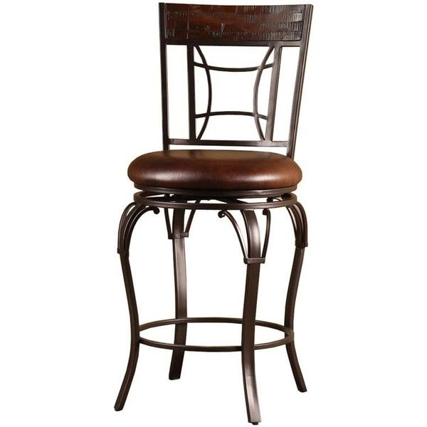 Hillsdale Granada Wood and Metal Swivel Stool ($118) ❤ liked on Polyvore featuring home, furniture, stools, barstools, brown, wooden swivel bar stools, bar height stools, bar height table, metal counter stools and metal barstools