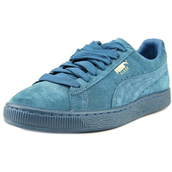 Puma Puma Suede Classic + Mono Iced Men Round Toe Suede Sneakers ($66) ❤ liked on Polyvore featuring men's fashion, men's shoes, men's sneakers, blue, shoes, mens shoes, mens suede shoes, puma mens sneakers, mens suede sneakers and mens blue sneakers