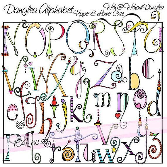 Dangles Alphabet Upper & Lower Case is a downloadable set of 104 original clip art images. There are two complete alphabet sets, one with dangles and