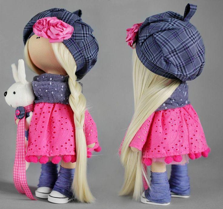 Девочка не продается. Но, в наличии есть 5 наборов. Повторю еще раз, наборы рассчитаны на девочек, посещавших мои мк. Но, если вы готовы разбираться самостоятельно - милости прошу! В набор входит: 1.Тело, руки, ноги и голова. Сшитые и набитые 2. Абсолютно все ткани для одежды, трикотаж для головы, ткани для кофточки зайца, берета, шарфа. 3. Обувь, волосы, заяц. 4. Цветы, пуговки для пришивания ног, пуговки для обтягивания и ткань для них же, лента. 5. Выкройки и инструкции в набор не вход...