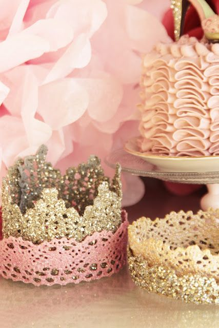 """Lacy Tiaras for a princess tea party  Place lace pieces into fabric stiffener making sure it is saturated.  Lay lace pieces onto wax paper and allow to dry.  While the lace is still very wet, flip the pieces every now and then and make sure that the liquid does not form """"windows"""" in the lace holes.  Leave the lace to dry overnight to became very stiff. Spray with acrylic paint in gold, silver, bronze, pearl, and pink."""