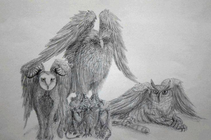 Familia de Grifos. ilustración en lapices. Oscar_ilustra