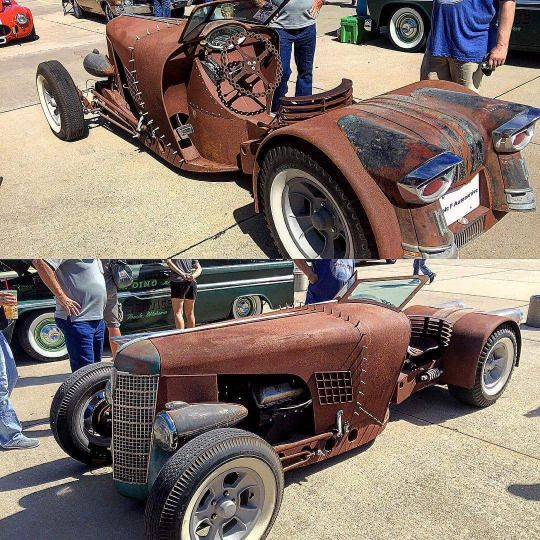 """Hmm...Maybe a narrowed Ford 9"""" rear, full size tractor front and lawn tractor cab would combine to form something similar to this? I would also use something like the trunk section from a humpback car for more storage space in the rear."""