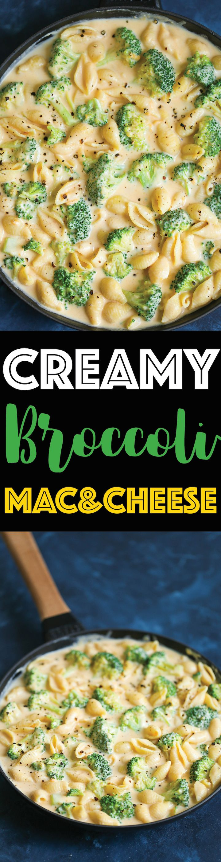 Creamy Broccoli Mac and Cheese - The EASIEST and CREAMIEST mac and cheese made in less than 30 min! Comfort food perfection! And it is the perfect way to sneak in those greens!