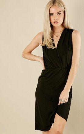 34ed6d49be9975 Petite Black Sleeveless Wrap Dress