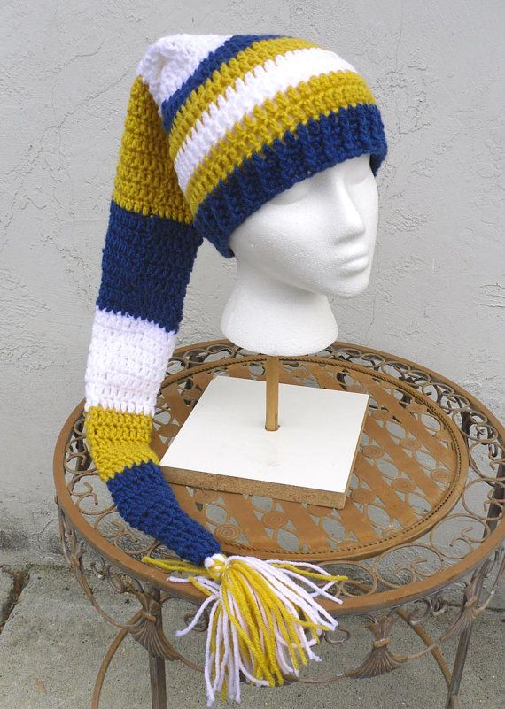 Extra Long Crochet Hat In Blue Yellow White Gnome By