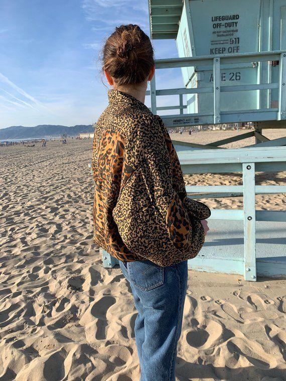 dd109f3ca Vintage Silk Leopard Puffer Jacket - Bomber Leopard print - Silk ...