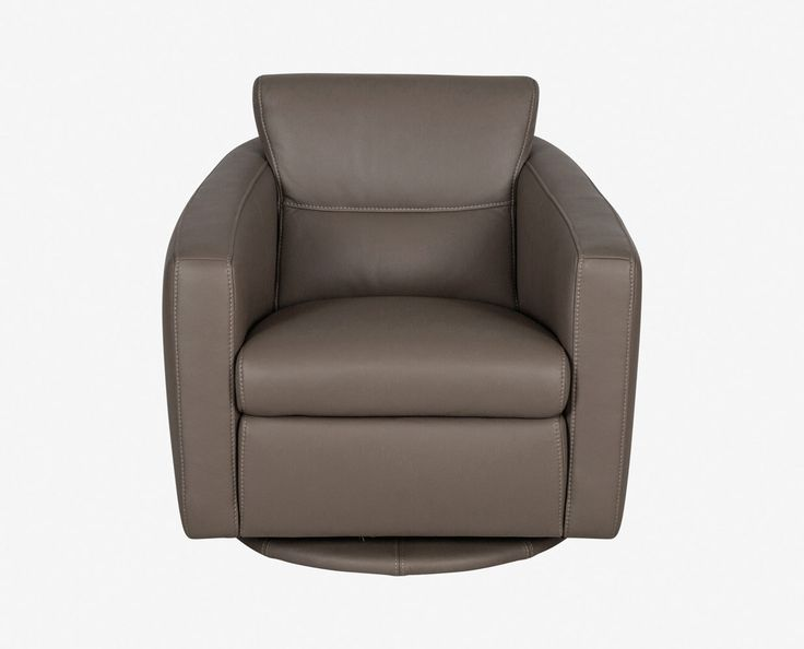 Dania - Attention to detail defines the Linus leather swivel glider. From the attractive stitching incorporated into the design and molded body, to the circular upholstered base, this accent chair adds charm to your room. Get wrapped up in a good book or a cozy conversation and enjoy.