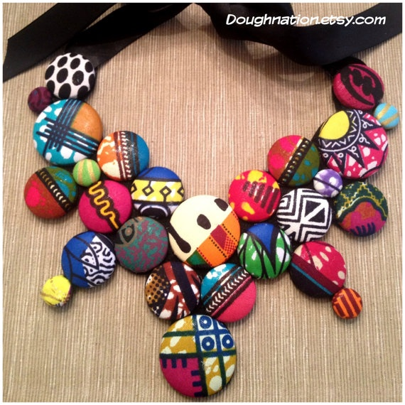 African Fabric Button Statement Bib by doughnation on Etsy, $45.00