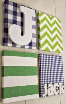 DIY Nursery Art - Canvas, Fabric and Letters. #DIY #NurseryDecor #Boys