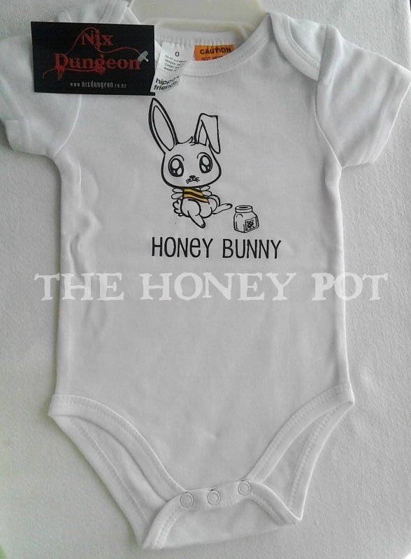 Super cute Honey Bunny OnesieSize: 0to fit 6-9 months approxHeight: 74cmChest:  50cmWaist:  50cmPrice INCLUDES tracked courierSold by Bunny Bubkins