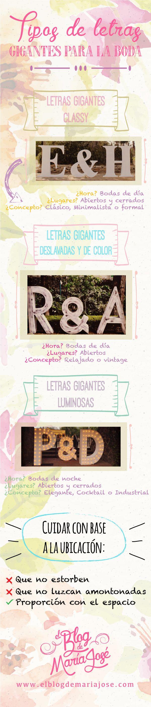 Tipos de letras gigantes para la boda #bodas #ElBlogdeMaríaJosé #LetrasGigantes #TendenciasBoda