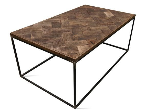 Industrial coffee table/ solid  oak top/ parquet style top/ antique finish