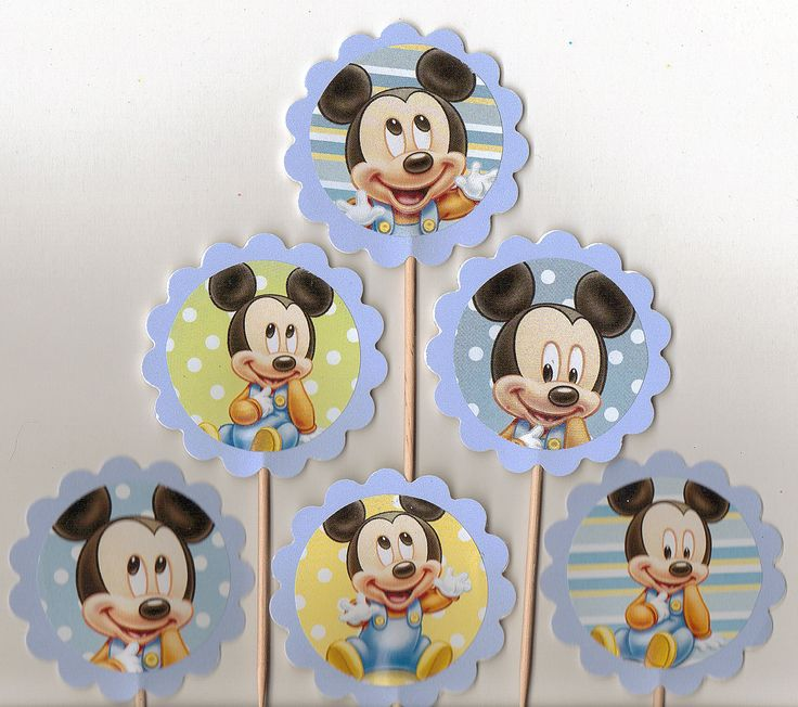 Baby Mickey Mouse Cupcake Toppers Set Of 12 Disney Birthday Or Baby Shower  Food Picks.