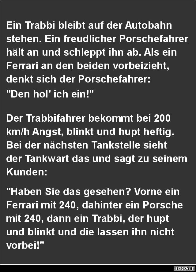 Ein Trabbi bleibt auf der Autobahn stehen.. | DEBESTE.de, Lustige Bilder…