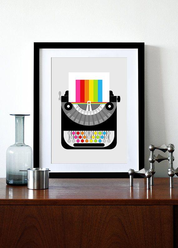 Rainbow typewriter poster print Mid Century Modern office retro vintage typewriter kitchen art - Rainbow Writer A3