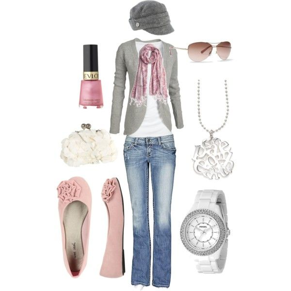 Shabby Chic Grey'N'Pink, created by ster-dub on Polyvore