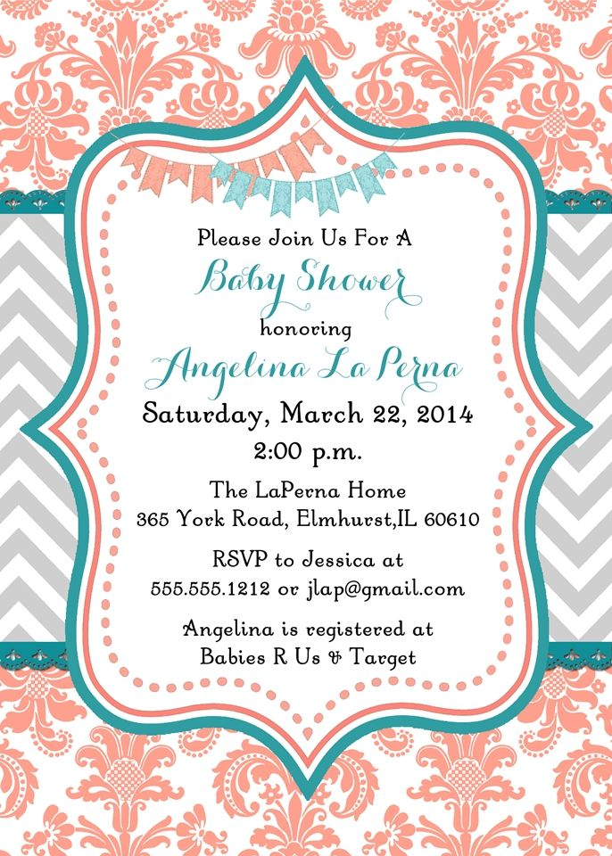 Damask Coral and Teal Baby Shower Invitation cute for a girl but change peach to lavender