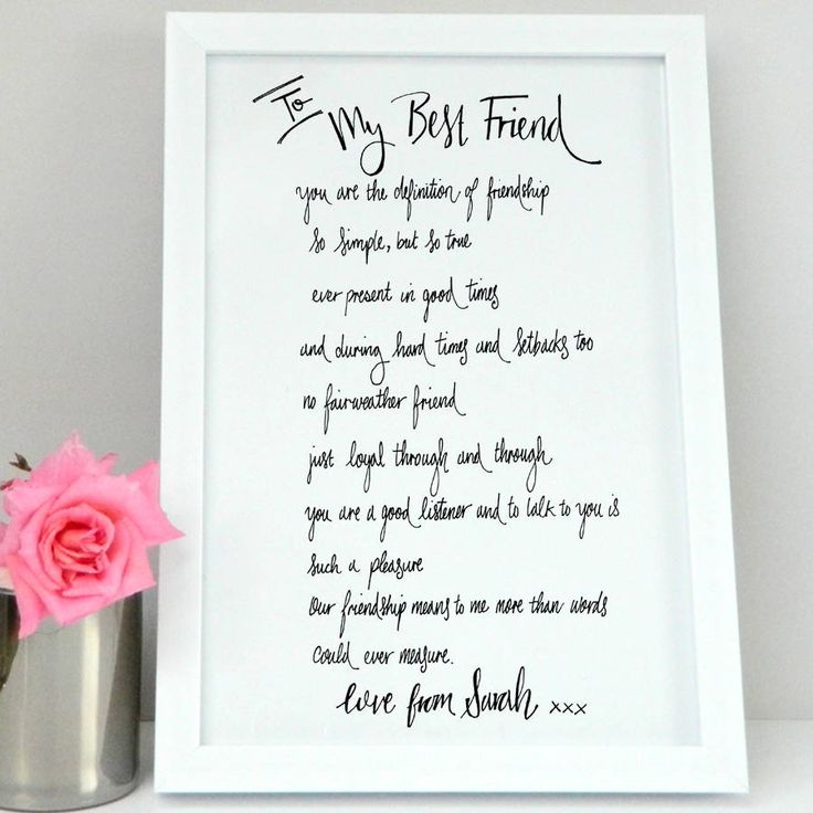 A personalised Best friend poem print, a unique gift. Personalise this personalised best friend print with your short personal message. The perfect best friend gift.Our personalied best friend poem print has been created by Carolle De Fraine and is copyrighted by De Fraine Design London Our personalised friend print comes unframed and we have two sizes available in A4 or A3 size to choose from. Regarding personalisation of the personalised friend print: Please ensure you double check all…