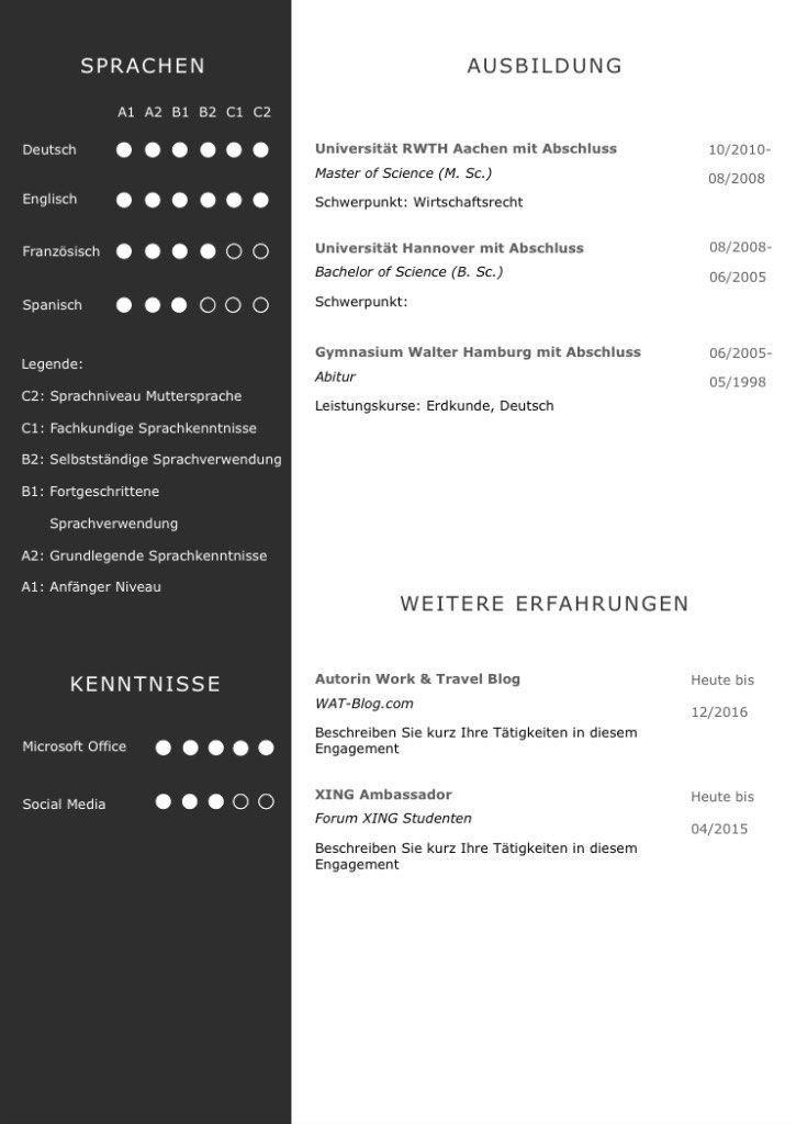 Cv Skill Profil In Carbon Farben Eine Perfekte Lebenslaufvorlage Fur Viel Berufserfahrung Hig Moderner Lebenslauf Lebenslauf Layout Lebenslauf Design Vorlage