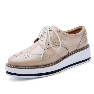 Women Platform Oxford Brogue Patent Leather Flats Lace Up Shoes Pointed Toe Creepers Vintage luxury beige red Black