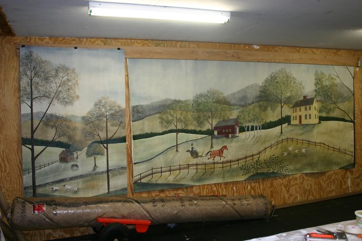 17 best images about rufus porter murals and rugs on for Canvas mural painting