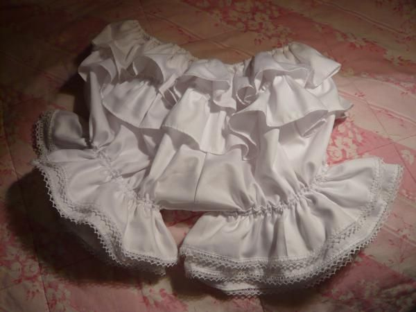 Commissioned white cotton sateen bloomers