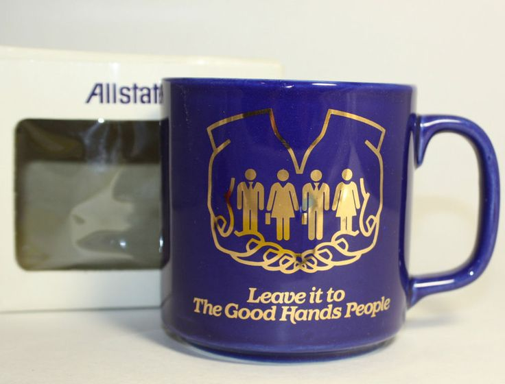 Allstate Magic Music Coffee Mug The Good Hands People Cobalt Blue Insurance Hand