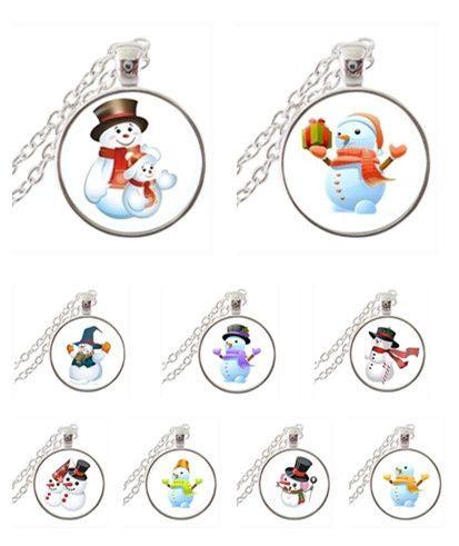 Рождество стеклянным куполом снеговик ожерелье новый год украшения детские снеговик аватар ожерелье посеребренные neckless для семьи Xmas подарков