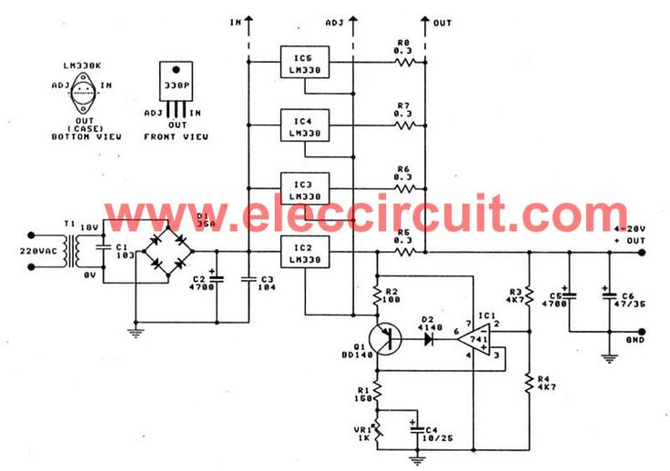 High Current Adjustable Voltage Regulator Circuit  0