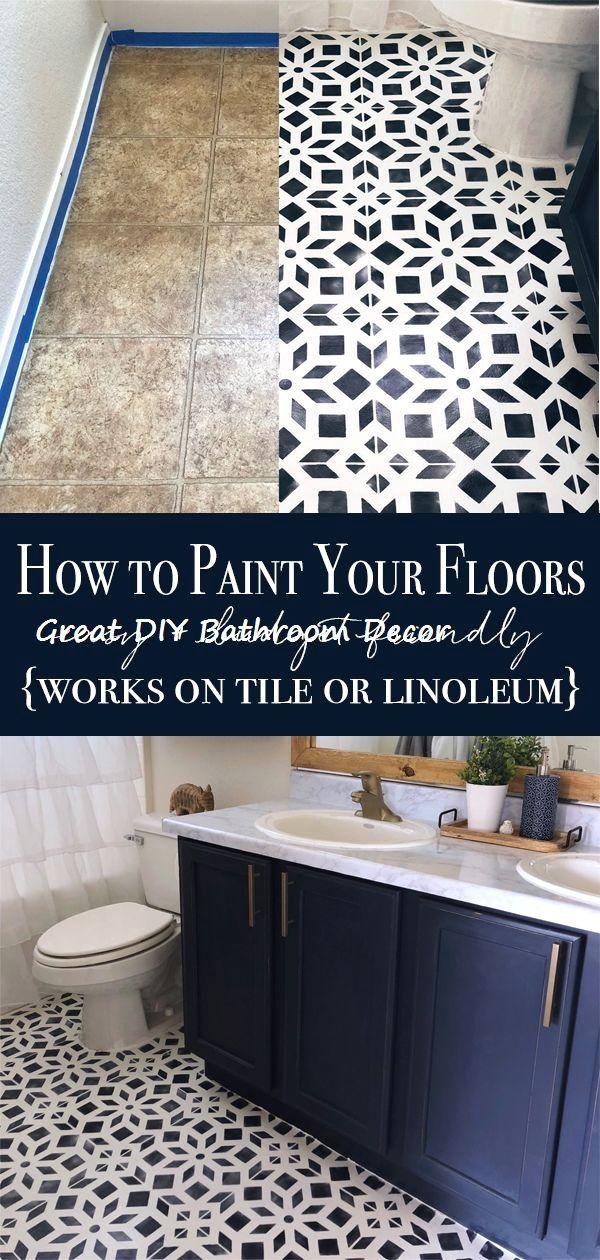 14 Very Creative Diy Ideas For The Bathroom Diybathroom Bathroomdecor Diy Painted Floors Painted Bathroom Floors Paint Linoleum