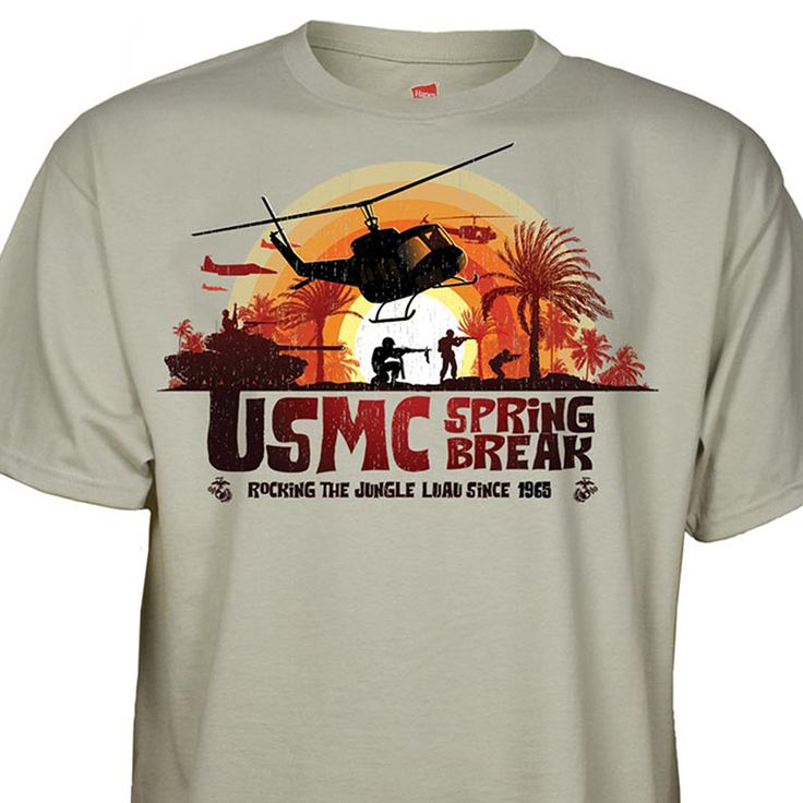 "USMC Spring Break Luau  Features:Made of 100% cotton.Full front chest screen printed designs.Front design displays the text ""USMC Spring Break Rocking The Jungle Luau Since 1965""SGT Grit Excusive  #Marines #USMC #SEMPERFI"