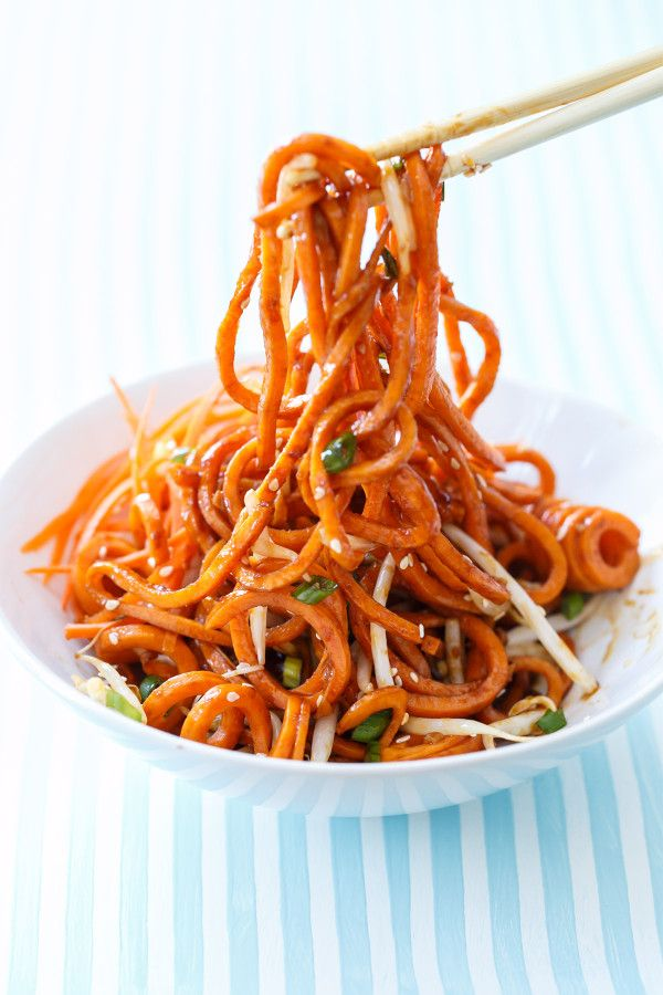 Spiralized Sweet Potato Soy Sauce Noodles - Quick, easy, and healthy!