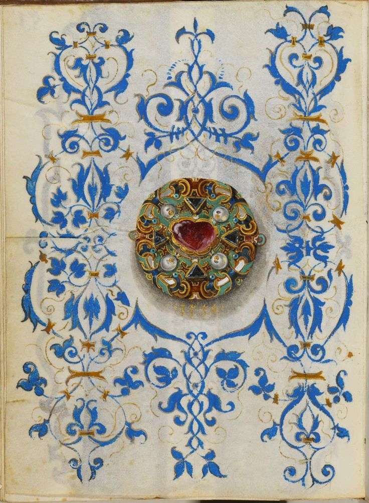 """The Jewel Book"" by Hans Mielich -  The paper and parchment manuscript displays more than one hundred gouache sketches of seventy pieces of jewellery, the vast majority belonging to Duchess Anna and the remainder to the Duke. Mielich spent at least two years preparing the sketches and the work was completed in 1555."