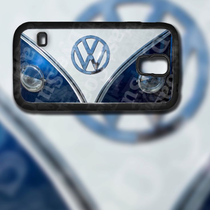 vw blue bus front end design on samsung galaxy s5 black rubber silicone case by eastcoastdyesub