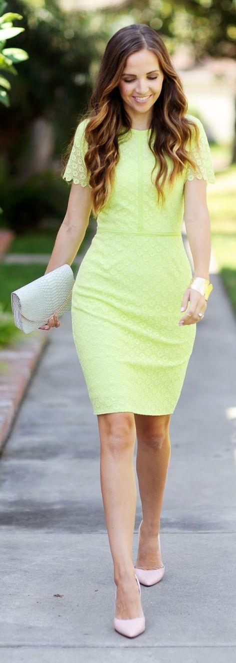 Lime Lace Pencil Inspiration Dress