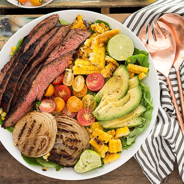 Mexican Grilled Flank Steak Salad with Honey Lime Dressing - Fox and Briar