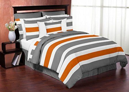 Gray, Orange and White Queen Boys Stripe Bedding Set Collection…