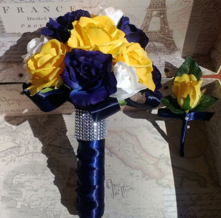 Yellow Rose Navy Blue Rose White Rose Real Touch Bridal Bouquet Wedding Bouquet Set, Yellow Bouquet, Yellow Navy Bouquet Yellow Rose Bouquet by SilkFlowersByJean on Etsy