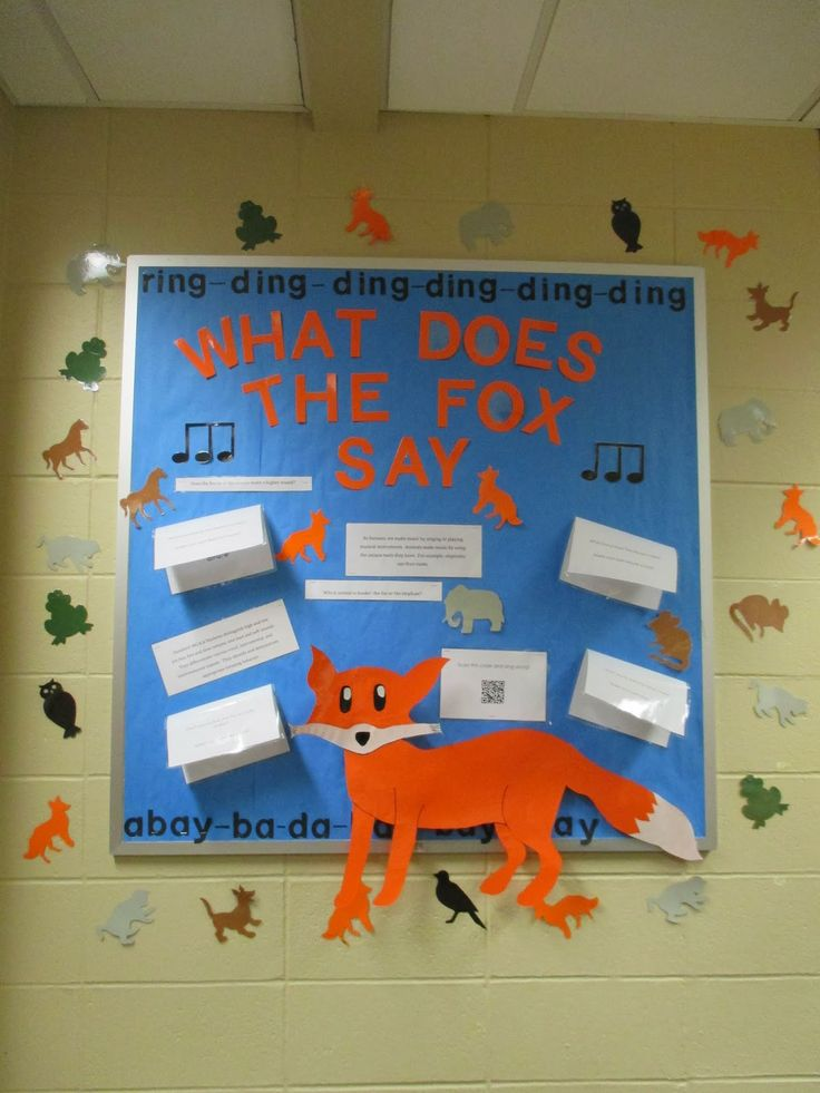 What Does the Fox Say? This is an interactive, cross-curricular bulletin board that supports kindergarten standards for music and literature. #iwuschoolofteachereducation iwuteacher.com