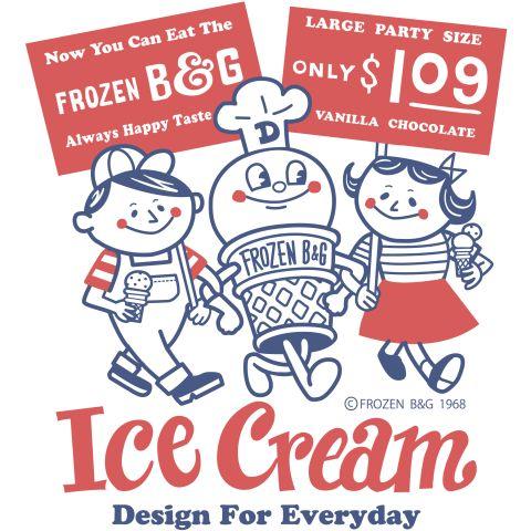 アイスクリームBoy&Girl☆アメリカンレトロ 片面 | デザインTシャツ通販 T-SHIRTS TRINITY(Tシャツトリニティ)