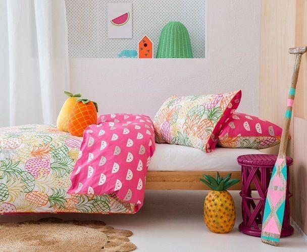 Kas Kids Quilt Cover Set Doona Size Double Get Fruity 2x