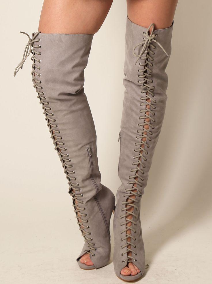 Grey Over Knee Peep Toe Boots