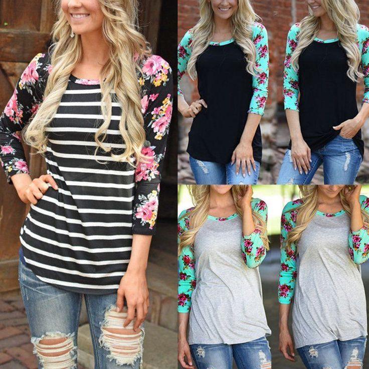 Fashion Women Floral Tee T-Shirt Lady Casual Loose Long Sleeve Tops Blouse Shirt | eBay