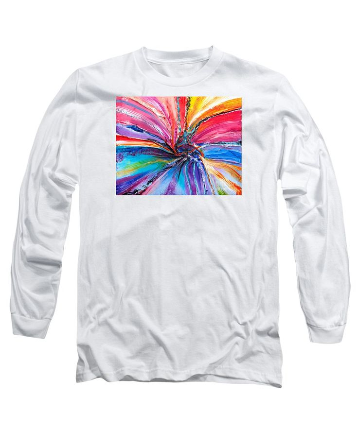 Abstract Explosion Vibrant Rainbow Vortex With Black And White Accents In A Spinning Wheel Contemporary. Long Sleeve T-Shirt featuring the painting Dimensional Rainbow by Expressionistart studio Priscilla Batzell