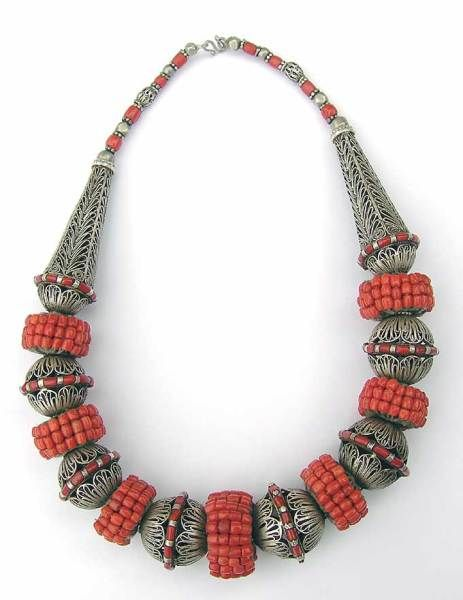 Necklace silver beads with coral over core wrapped, Yemen late 19th c comparison to one below, this was first one sold like this in 06 second one sold in 2010