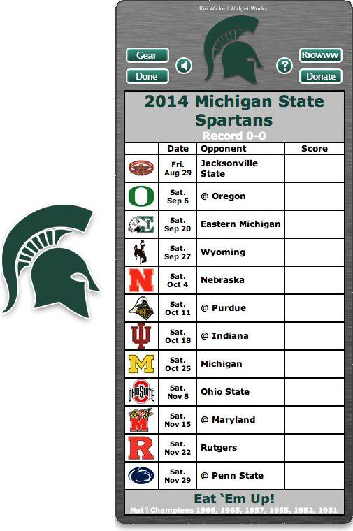 Free 2014 Michigan State Spartans Football Schedule Widget - Hook 'em Horns! - National Champions 1966, 1965, 1957, 1955, 1952, 1951  http://riowww.com/teamPages/Michigan_State_Spartans.htm