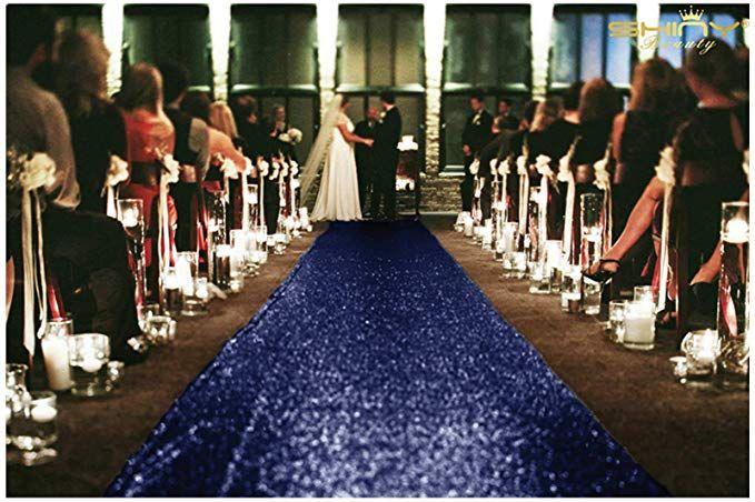 Sequin Aisles Floor Runner 4ftx15ft Wedding Aisle Runner Navy In