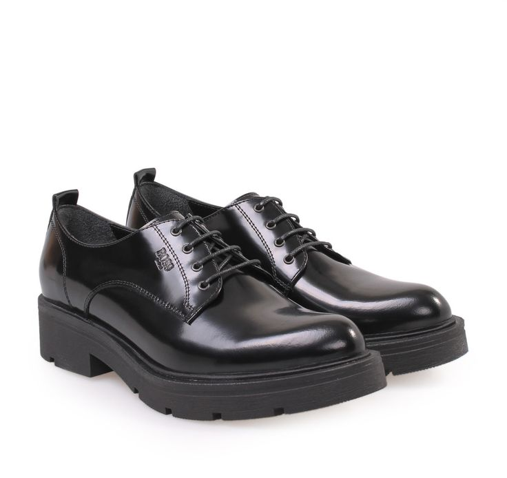 BOSS Women's Black Leather Oxford Shoes with Laces. Γυναικεία δερμάτινα oxford παπούτσια με κορδόνια.
